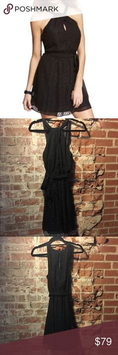 """🎈CLOSING SALE❗ EXPRESS Keyhole Halter Dress Last chance! Lowest price unless bundled!  """"Shimmer"""" accents for a fun night out! Crossing sleeveless halter neckline with keyhole in from and back. Elastic waist with removable sash. 💋 Happy Poshing! (x trade) Express Dresses"""