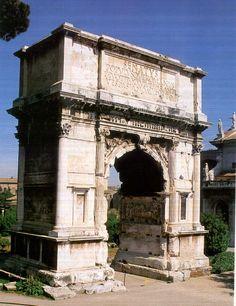 L'Arco di Tito fu edificato  fra l'anno 81 e il 100 d.c a Roma . L' esterno è costruito in marmo, mentre l'interno è in cementizio. L'arco è molto decorato e presenta incisioni che alludono alla campagna in Giudea di Tito e nella volta decorata a cassettoni è raffigurata un' aquila che solleva Tito verso il cielo.