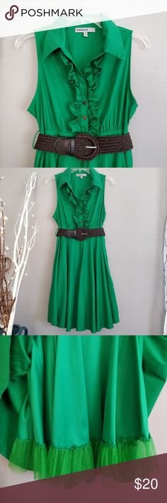 CUTE Bailey Blue sleeveless dress I'm loving this fresh Spring kelly green and great style from Bailey Blue!  It features a deep V-neck, ruffle on both sides of the placket, a lined skirt with tulle at the bottom to give it some flounce, zip side, and a wide braided belt.  It is in excellent like-new condition in a size medium. I cannot find a fabric label, but the exterior layer feels like cotton to me.  Thank you for stopping by and, as always, happy poshing!!! :) Bailey Blue Dresses