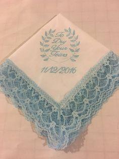 Bride's Something Blue Wedding Handkerchief Personalized Lace Wedding Handkerchief  Custom Embroidered Wedding Handkerchief