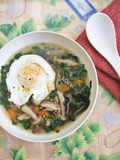 Kale Mushroom Soup with Poached Egg ~ Teczcape-An Escape to Food