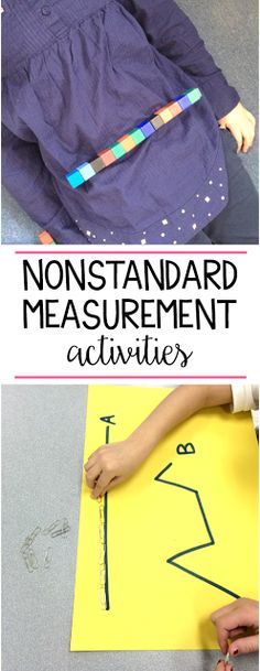 Some fun ideas to help first and second grade students practice nonstandard measurement. Students look at the difference between the lengths of crooked vs. straight lines, measure one another and more!