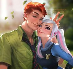 Human   Judy & Nick   Zootopia   Fox   Rabbit   Disney   Fan Art