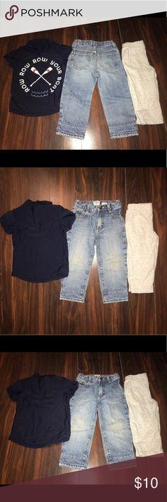 💙👶🏻BUNDLE 3 BABY BOY CLOTHING Bundle of 3 baby boy clothing! Baby Gap ROW YOUR BOAT 🛶 18-24MO half zipper tee shirt, Carter's grey sweatpants 24MO & Osh Kosh jeans 24MO. Worn only 2-3 times! Matching Sets