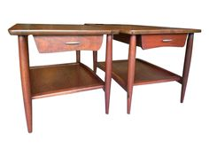 Mid-Century Walnut Side Tables - A Pair on Chairish.com
