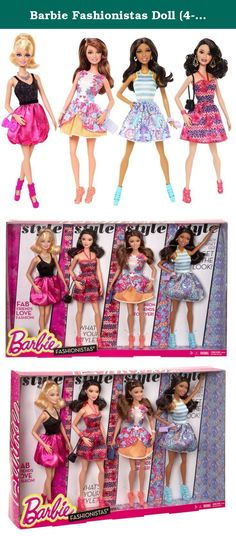 Barbie Fashionistas Doll (4-Pack). Barbie doll has big plans for a fabulous summer: glam parties, garden parties and fun in the sun - sometimes all in one! Dressed in pretty party dresses, the Fashionistas will be the blossoms of every ball! Girls will have closets of fashion fun creating perfect party outfits and vacation looks with this assortment of Fashionistas dolls. Each friend wears a chic look that incorporates trendy designs and vibrant colors. Choose from a beautiful Barbie doll…