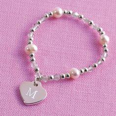 Flower Girl Heart Charm Bracelet | Elastic Flower Girl Charm Bracelet sawyer, hopey, mary kate