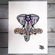 Devoir de mémoire #jozu #jozumoore #elephant #devoirdememoire #flashtattoo #lowbrowart #art #drawing #illustration