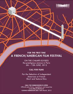 Graphisme et identité visuelle du Champs-Élysées film festival à Paris (création : Kanta Desroches)