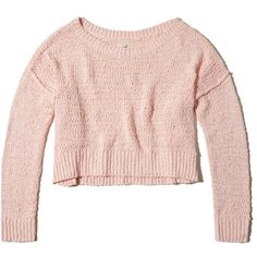 Hollister Slouchy Crop Sweater ($40) ❤ liked on Polyvore featuring tops, sweaters, light pink, pink cropped sweater, off the shoulder crop top, slouchy off the shoulder sweater, slouchy sweaters and light pink crop top