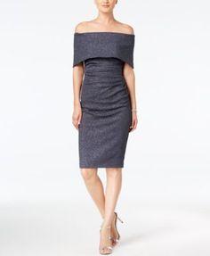 Vince Camuto Off-The-Shoulder Glitter Sheath Dress   macys.com