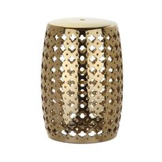 Safavieh ACS4531 Lacey Ceramic Garden Stool Plated Gold Home Decor ($112) ❤ liked on Polyvore featuring home, outdoors, patio furniture, outdoor stools, garden decor, garden stools, home decor, plated gold, white side table and white end table