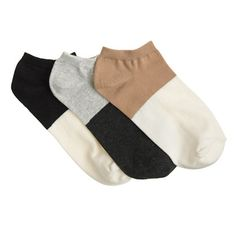 Two-Tone Ankle Socks 3-Pack • J.Crew