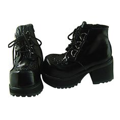 Black PU Cuir Talon 8cm de haut Haute-cut Chaussures punks de Lolita - USD $ 69.99