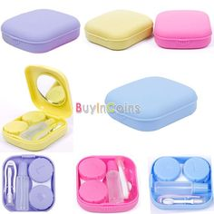 Cute Pocket Mini Contact Lens Case Travel Kit Easy Carry Mirror Container Holder -- BuyinCoins.com