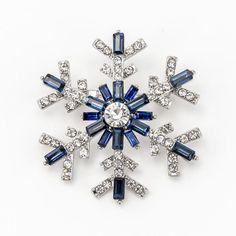 Navy Blue Snowflake Brooch Crystal Snowflake Bridal