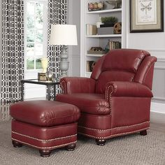 The Home Styles Winston Stationary Club Chair with Ottoman is a sumptuous English pub-style chair and ottoman set that adds comfort to any room. Armchair With Ottoman, Leather Chair With Ottoman, Red Leather Couches, Red Leather Chair, Upholstered Chairs, Brown Accent Chair, Accent Chairs, Living Room Chairs, Living Room Furniture