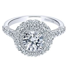 Gabriel & Co. ER7914W83JJ 18k White Gold Double Halo Engagement Ring Setting Find stunning double halo engagement rings in 18k white gold at Diamonds By Raymond Lee in Boca Raton — Palm B…
