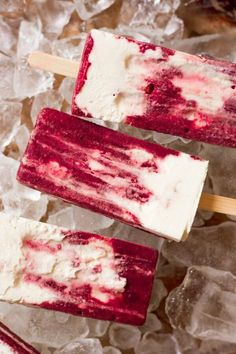 Old Fashioned Cherry Creamsicles! Creamy vanilla goodness paired with sweet, fruity, icy, cherry deliciousness in popsicle form, what's not to like? These delicious popsicles are the perfect Creamsicle® Copycat! Healthy Popsicle Recipes, Ice Pop Recipes, Cream Recipes, Real Food Recipes, Dessert Recipes, Paleo Recipes, Cherry Desserts, Frozen Desserts, Summer Desserts