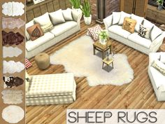 Sims 4 CC's - The Best: Sheep Rugs by Pralinesims
