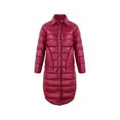 Pure Color Mid-Long Down Coats (100 BAM) ❤ liked on Polyvore featuring outerwear, coats, red, long length coats, down coat, collar coat, long sleeve coat and long length down coat