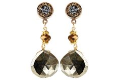 Pyrite Post Drop Earrings on OneKingsLane.com