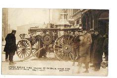 1909 KALAMAZOO MICHIGAN STEAM FIRE ENGINE rppc Real Photo Postcard