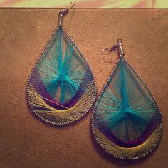 Large peacock earrings Very cute and fun pair! Jewelry Earrings