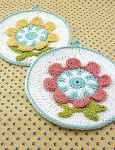 This embroidery-style dishcloth comes in two fabulous spring color combinations! (Yarnspirations)
