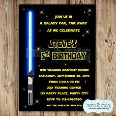 Star Wars Invitation / Star Wars Birthday Invitation / Star Wars Invite / Blue Green or Red Lightsaber by HeartsandCraftsy