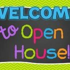 Bright chevron and chalkboard PowerPoint template that is perfect for your Open House, Back to school, Meet the Teacher night! All you have to do i...