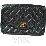 Chanel Black Leather 2.55 Shoulder Bag Gold Chain CC