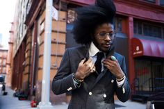 Move over Lenny Kravitz - or at least make some room for Jesse Boykins III. Cat is so cool it hurts! Natural Hair Men, Natural Hair Styles, Afro Pick, Sharp Dressed Man, Suit And Tie, Hair Journey, Gentleman Style, Photography Women, New Hair