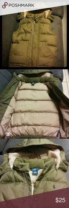 Polo puffer vest Olive green puffer vest with detachable hood. Fleece lined pockets and collar. Polo by Ralph Lauren Jackets & Coats Vests