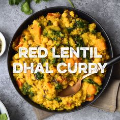 This dhal curry is packed with red lentils, chickpeas, butternut squash and spinach - ready in 25 minutes. This dhal curry is packed with red lentils, chickpeas, butternut squash and spinach - ready in 25 minutes. Vegan Crockpot Recipes, Curry Recipes, Raw Food Recipes, Veggie Recipes, Indian Food Recipes, Soup Recipes, Vegetarian Recipes, Cooking Recipes, Healthy Recipes