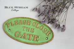 Garden Sign - Vintage Recreation Cast Iron Garden Gate Sign - 'Please Close the Gate' - Garden Gate Sign - Fence Sign - Potting Shed Sign by BlueStreamCottage on Etsy