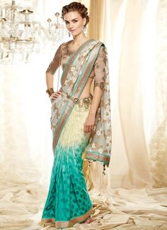 Turquoise And White Silk Embroidery Work Designer Half N Half Saree#bollywood  http://www.angelnx.com/Sarees/Party-Wear-Sarees
