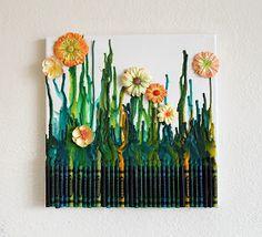 Diy canvas art using melted crayons...Neat! Artistic Life: Grandma's Garden- Crayon Art