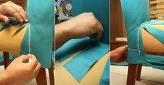 Fotos: Passo a passo: Aprenda a fazer uma capa para renovar sua cadeira - 16/06/2016 - UOL Universa Diy Sofa Cover, Chair Covers, Couture Sewing, Living Room Tv, Diy Chair, Furniture Makeover, Sewing Projects, Arts And Crafts, Room Decor