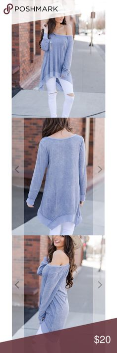 Cozy Top Fun flowy and cozy top. Worn once. I wouldn't call this navy blue though... I'd say more like a lavender. The color in the photo is accurate.. Tops