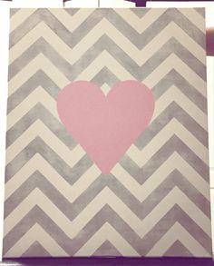 Chevron heart painting ❤️ for nursery