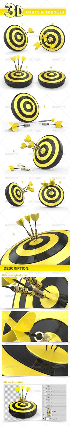 Darts and Targets Backgrounds  #GraphicRiver          KEYWORDS: darts, target, business, background, icon, internet, transparent, template  Description   Darts and targets template is a layered PSD file.  Each layer are named and grouped for easy navigation.  Use mask layers to modify images color and shadows for your individual needs.   If you have any questions or suggestions support me in any time.     Created: 3January12 GraphicsFilesIncluded: PhotoshopPSD Layered: Yes…