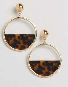 New Look Tortoise Shell Gold Hoop Earrings