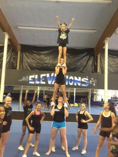 All girl two story stunt!!