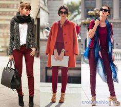 С чем носить бордовые джинсы