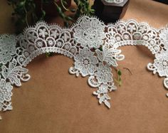 Items similar to White Venice Lace Trim, Floral Wave Lace Inches Wide 1 yard on Etsy Red Tutu, Antique Lace, Scalloped Lace, Embroidered Lace, Corsage, White Roses, Burlap Wreath, Hair Pins, Happy Shopping