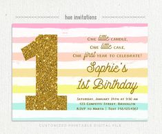 Rainbow First Birthday Invitation Girls Rainbow Party First - Digital first birthday invitation