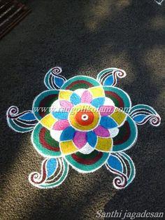 Freehand design beautiful colourkolam done bySanthi jagadesan