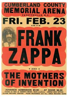 Frank Zappa and the Mothers Poster, Vintage Frank Zappa concert poster, Frank Zappa Memorabilia.