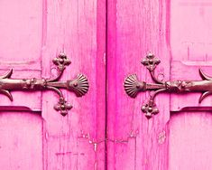 Pink Paris Door Photo, Neon, via Etsy.